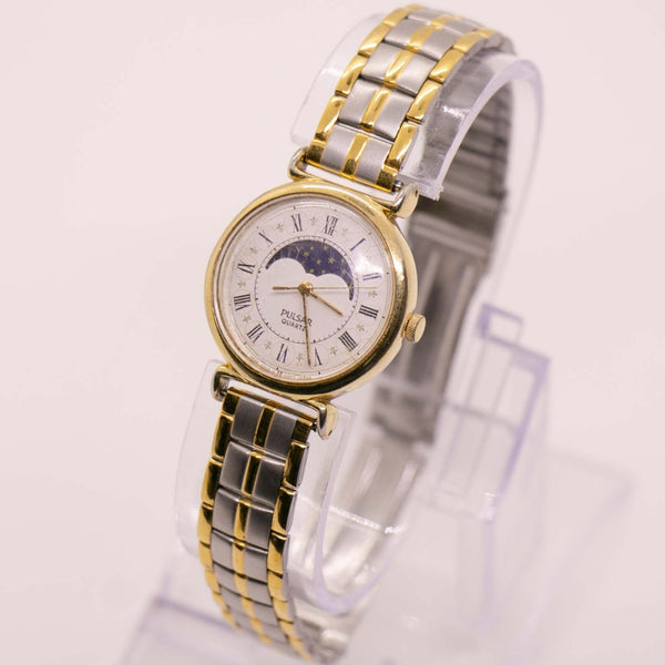Gold-tone Pulsar Moon Phase Quartz Watch | Moonphase Watch Collection