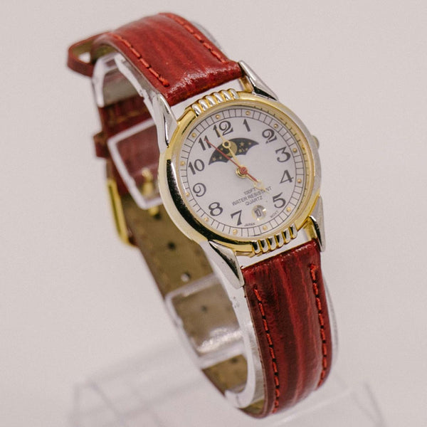 Vintage Moon Phase Quartz Watch for Ladies with Red Leather Strap