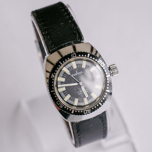 Vintage Eviana Mechanical Diver Watch | Black Dial Men's Wristwatch