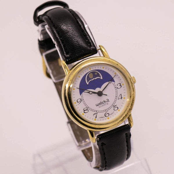 Gold-tone Watch it Moon Phase Watch | Vintage Quartz Watch Unisex