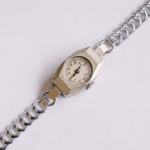 Antique Silver-Tone Mechanical Watch | 1950s Ladies French Vintage Watch
