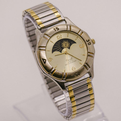 Vintage Acuet Moon Phase Watch | Elegant Moonphase Quartz Watch