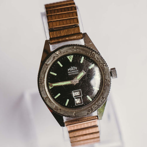 Maty Besancon Mechanical Vintage Watch | Antichoc Men's Diver Watch