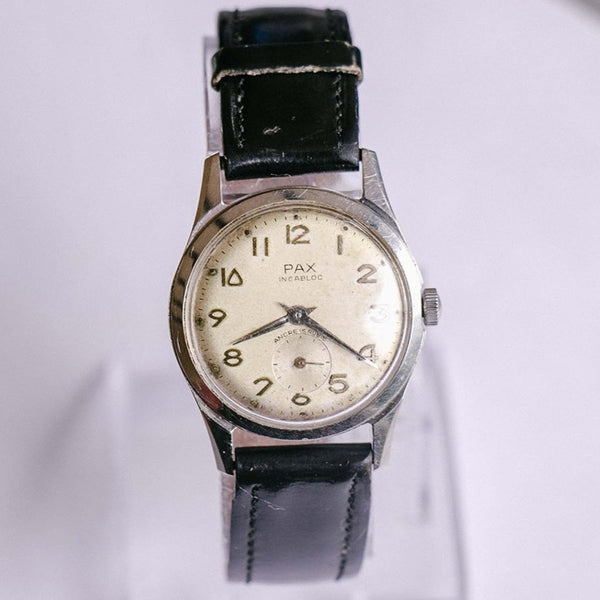 Vintage Stainless Steel Pax Mechanical Watch | Ancre 15 Rubis Movement