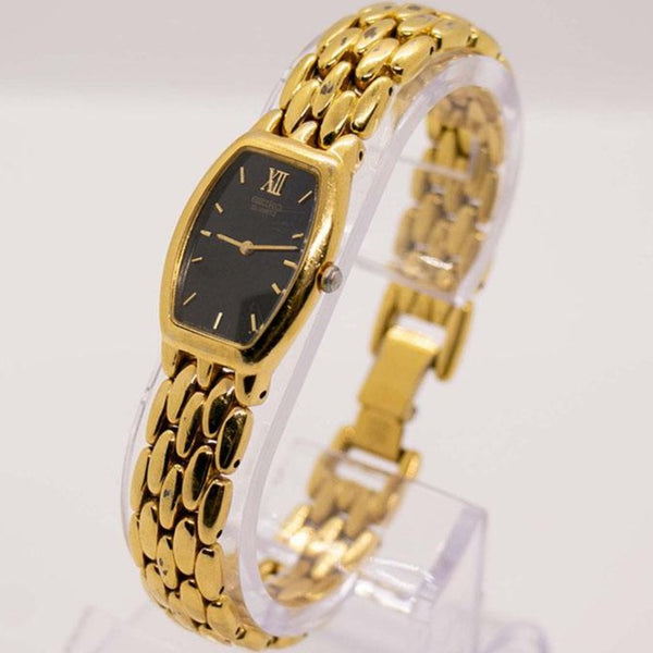 1990s Black Dial Gold Tone Seiko 4N00-6431 RO Watch for Women
