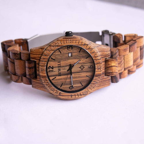 Bewell Wooden Watch for Men | Natural Wood Analog Quartz Watch