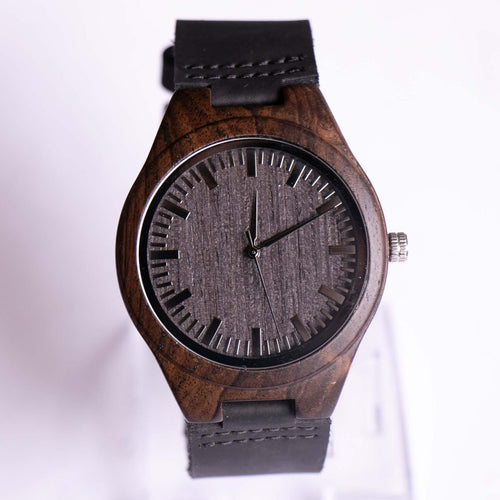 Engraved Minimalist Black Wooden Watch | Mother's Gift for Son