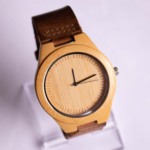 Minimalist Mens Wooden Watch | Cucol Real Bamboo Case in Light Brown