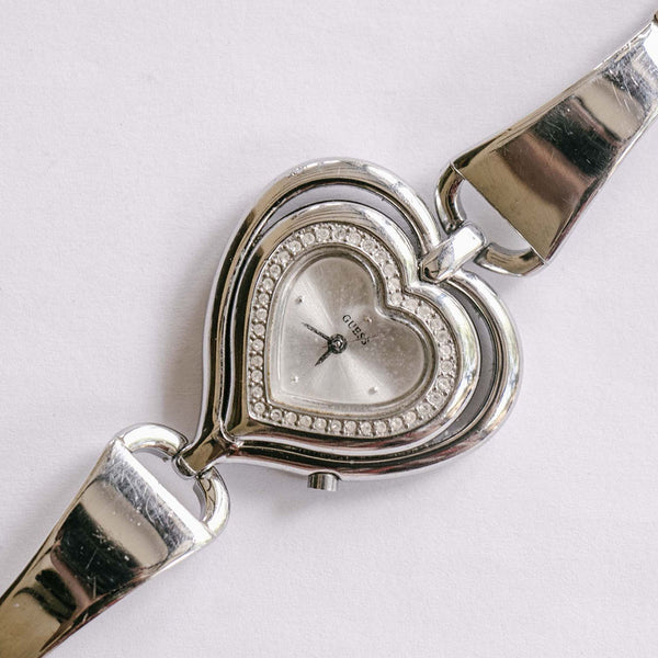 Heart-shaped Guess Watch for Women | Luxury Silver-tone Ladies Watch