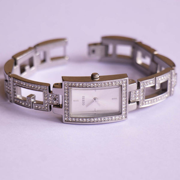Guess Rectangular Watch for Women with Branded Silver-tone Bracelet