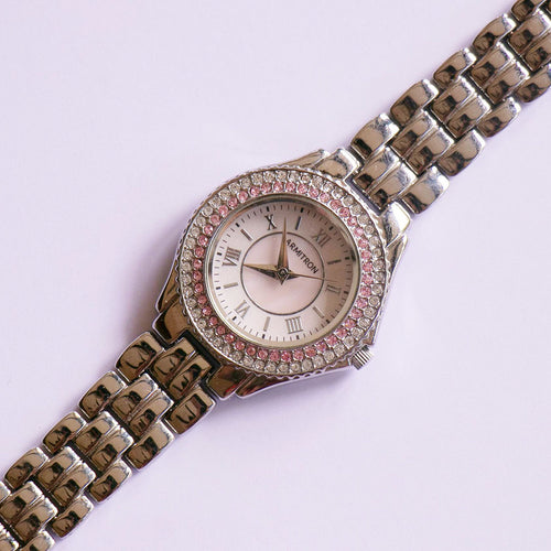 Silver-tone Armitron Watch with Pink Gems | Elegant Ladies Watch