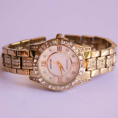 Gold-tone Armitron Watch for Ladies with Swarovski Crystals