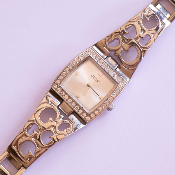 Guess Square-dial Watch for Women with Unique Silver-tone Bracelet
