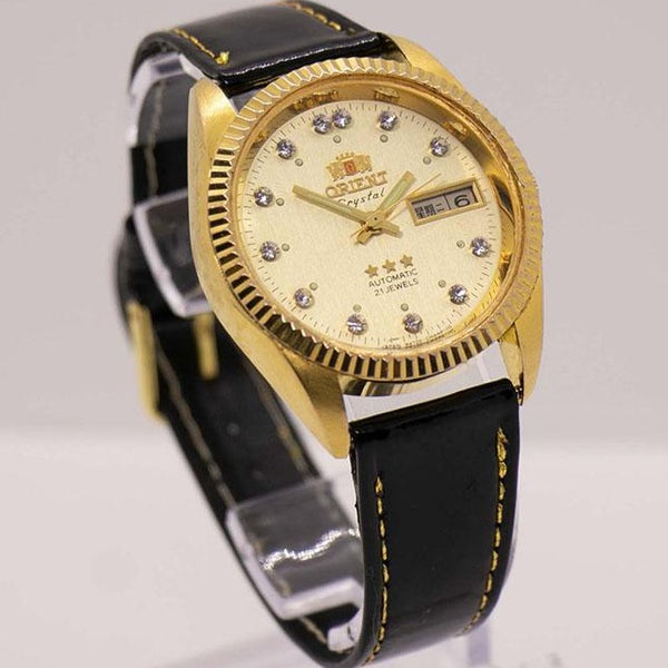Vintage Orient Crystal 21 jewels Automatic Date Watch 3 Stars Gold Tone