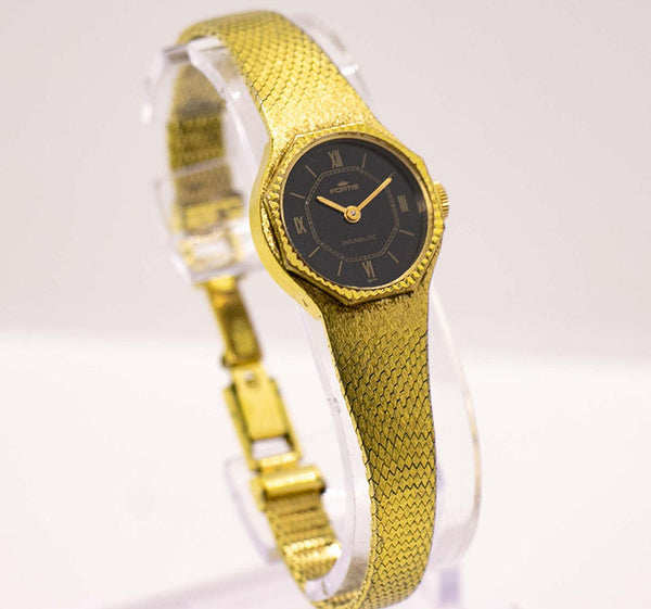 Vintage Gold Fortis Incabloc Black Dial Watch | Art Nouveau Jewelry