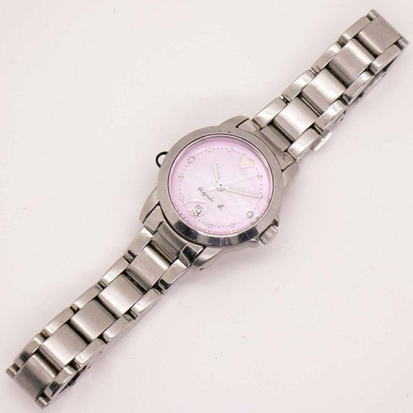 Vintage Silver-tone Agnes B Watch for Women with Pink Dial