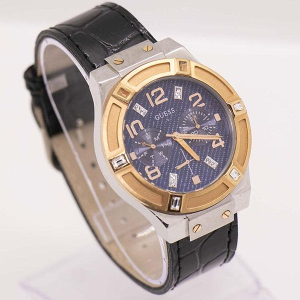 Rose-gold & Silver GUESS Chronograph Watch with Navy Blue Dial Unisex