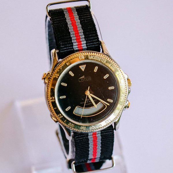90s Lotus Digital Analog Vintage Watch Black Dial Gold Tone Case