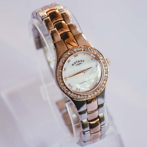 Two Tone Rose Gold Rotary Watch for women |  Mother of Pearl Swarovski Luxury Watch