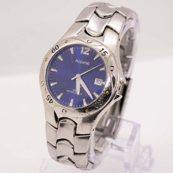 Vintage Silver-tone Water-resistant Accurist Watch with Blue Dial