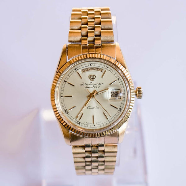 Luxury Gold-tone Jules Jurgensen Date Watch | Electronic Quartz Watch