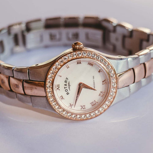 Mother of Pearl Swarovski Luxury Swiss Made Rotary Watch for her