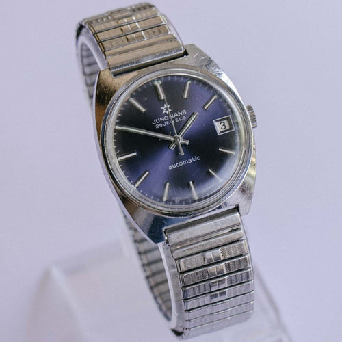 RARE Junghans 25 Jewels Automatic Men's Watch with Blue Dial Vintage