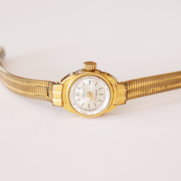 Vintage Ruhla 17 Jewels Gold-Plated Mechanical Watch for Women