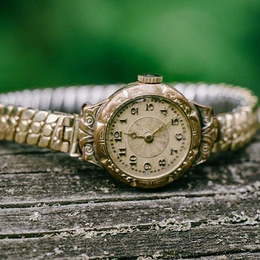 1940s Vintage Gold-Plated Watch | Art-deco Vintage German Ladies Watch