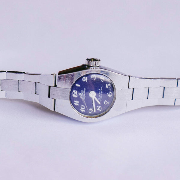 Blue Dial Meister Anker Mechanical Watch | Silver-Tone Vintage Watch