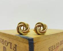 Load image into Gallery viewer, Yellow and Rose Gold Cufflinks, Intertwined Circles - Vintage Radar