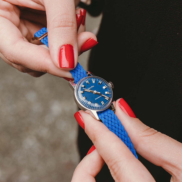 RARE Vintage Zentra Automatic Women's Watch with Blue Dial