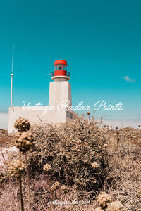 Retro Lighthouse Digital Print | Red Lighthouse Printable Wall Decor - Vintage Radar
