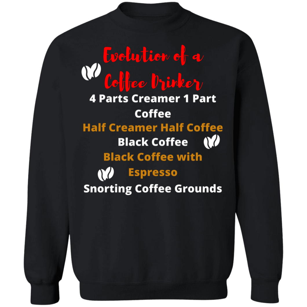 Evolution of a Coffee Drinker Crew Neck