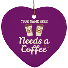 Load image into Gallery viewer, Needs a Coffee  Heart Ornament