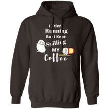 Load image into Gallery viewer, Tried Running but kept Spilling My Coffee Hoodie