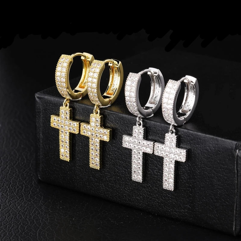 Iced Out Cross Earrings - wave-cheque