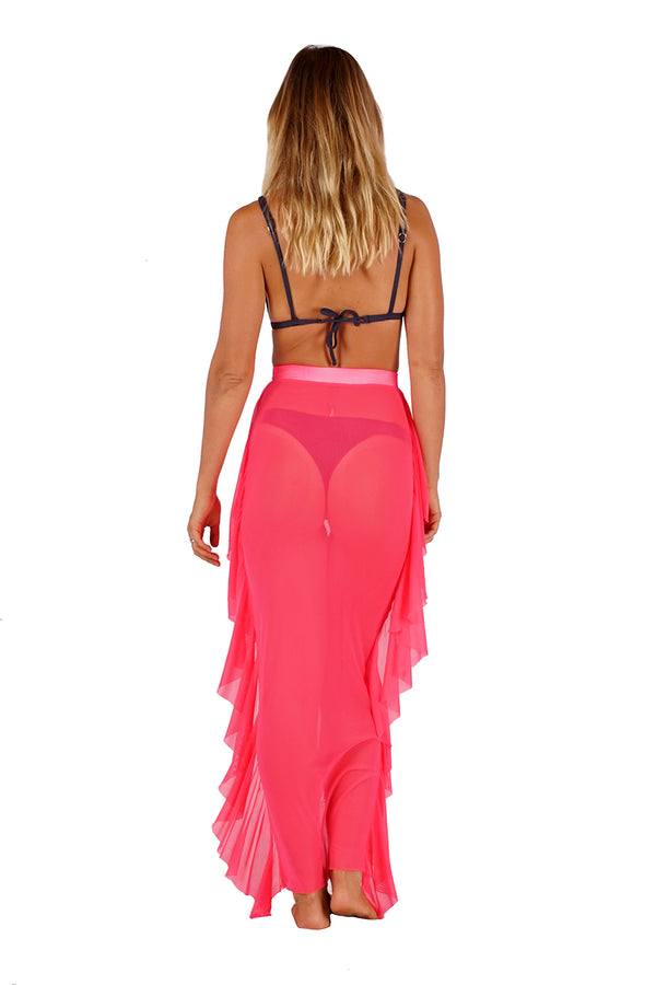 Mesh Cover Up Skirt CH_30001 Neon Pink