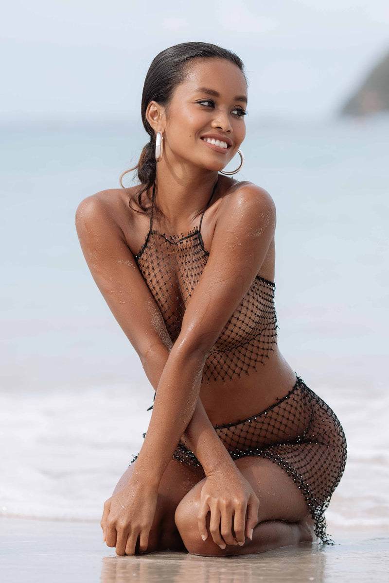 Rhinestones fishnet 2 pieces coverup