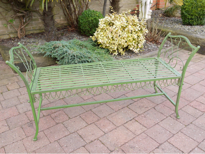 Victorian Design Metal Antique Green Bench