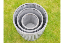Load image into Gallery viewer, Set 3 Galvanised Cylindrical Tubs.