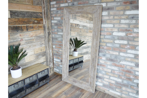 Extra Large Wooden Framed Feature Industrial Style Wall / Leaner Mirror
