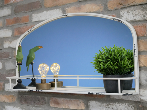 Shabby White Metal Mirror With Shelf