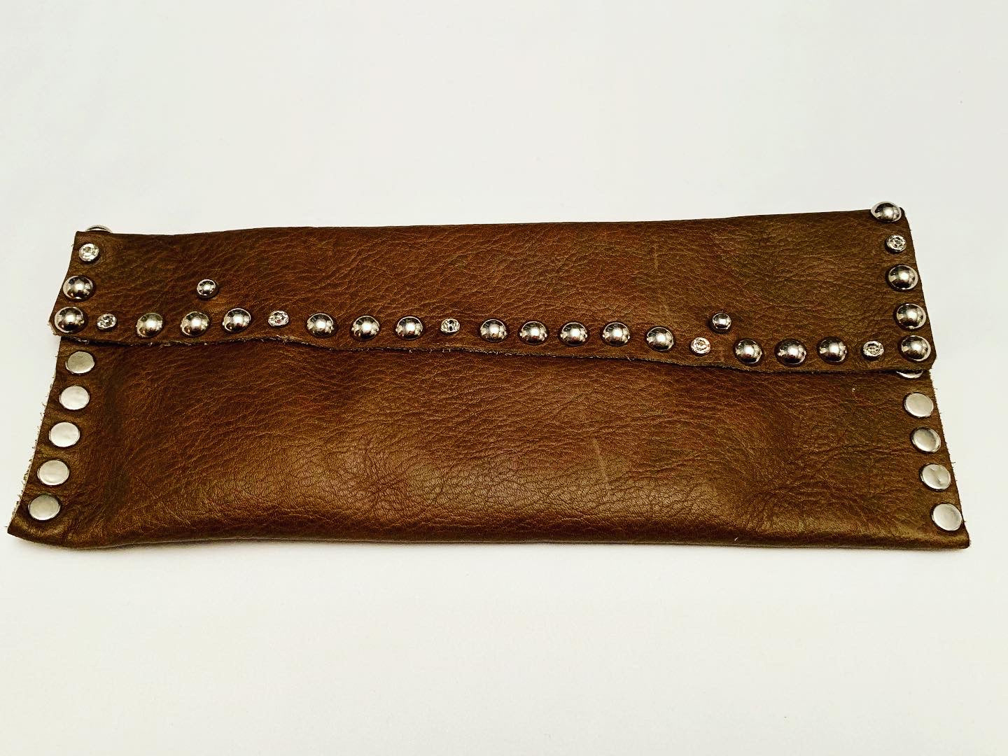 Brown studded leather wallet