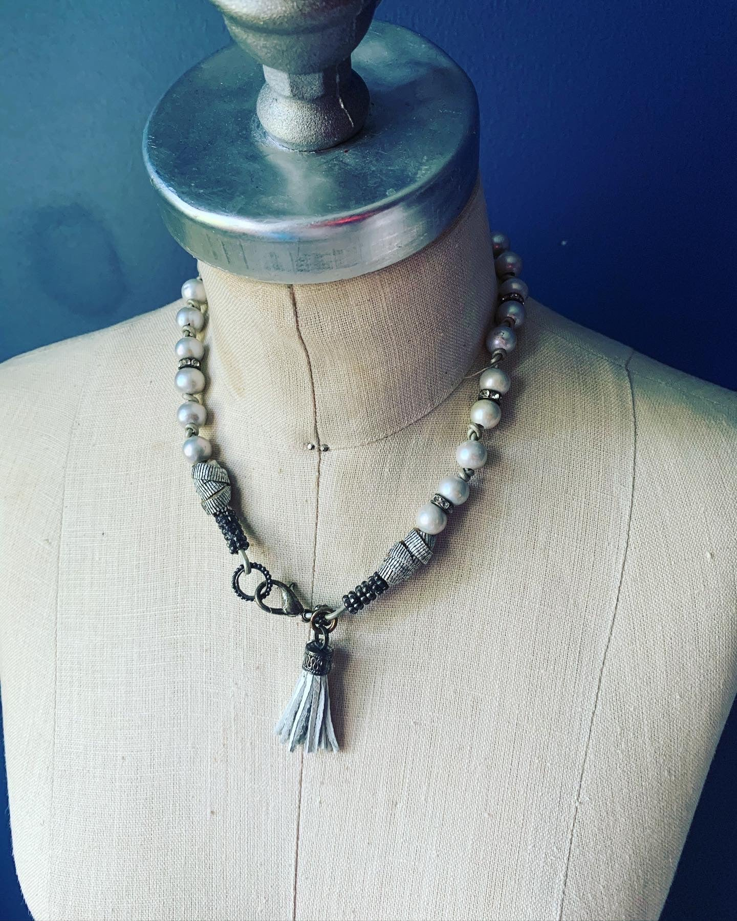 Pearl Necklaces with leather fringe tassels