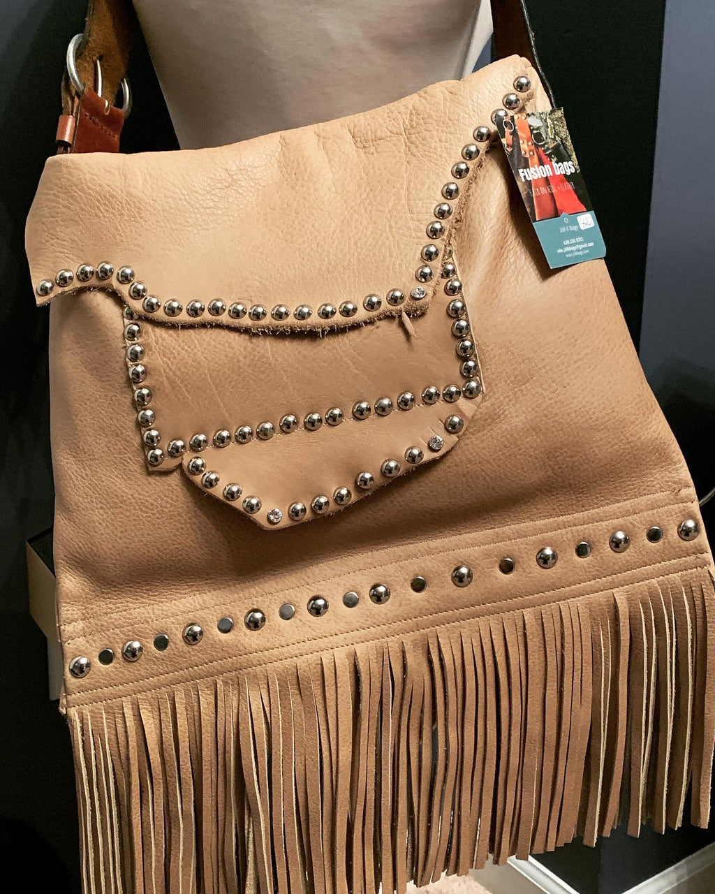 Tan studded Mini Messenger
