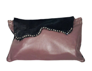 Oversized Black Cowhide/Purple Leather Clutch