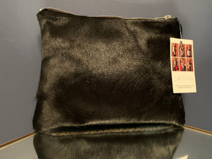 Snakeskin embossed fused to black hair on hide clutch/zipper pouch