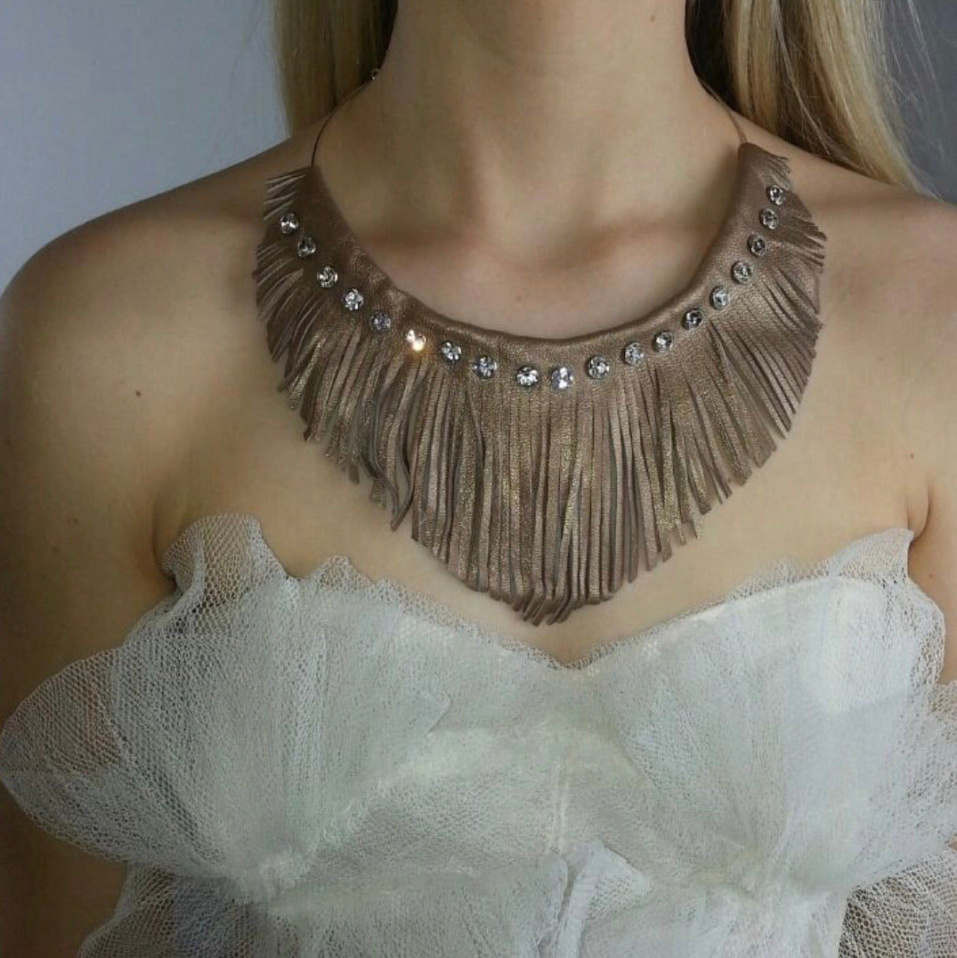 Metallic Lamb Skin Choker with Swarovski Crystals