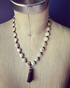 Pearl Necklace with mini black tassel